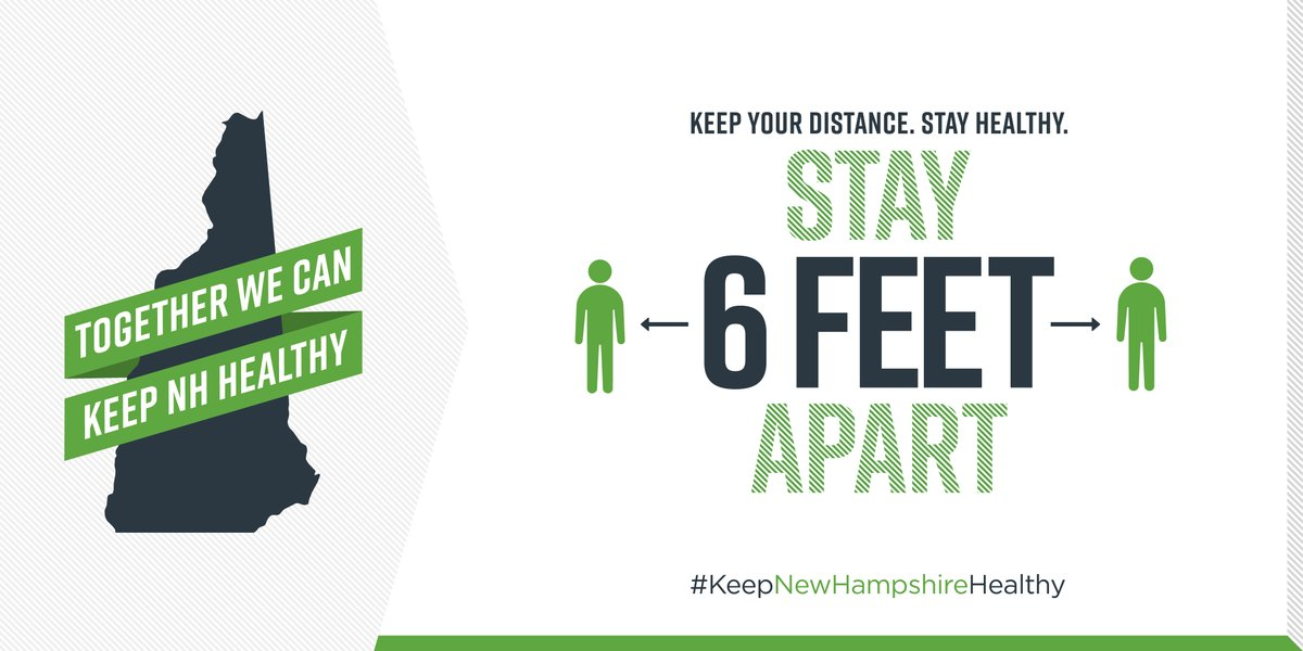 Social distancing and wearing face masks in public can have a big impact on lowering the spread of COVID19. It's up to each of us to do our part to reduce the impact of COVID-19 in our community. #KeepNewHampshireHealthy #MaskUpNewHampshire