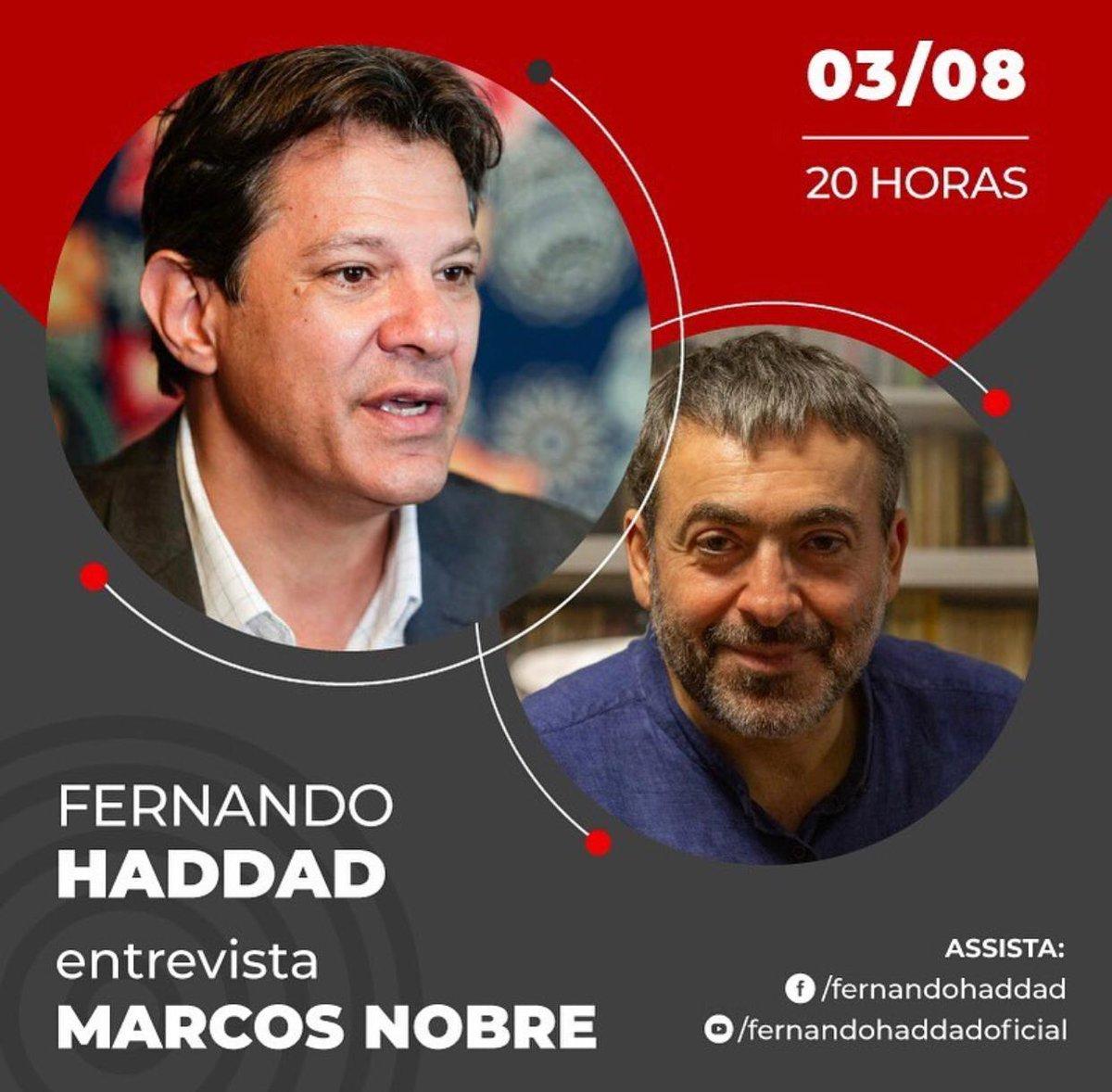 É HOJE: às 20h, @Haddad_Fernando conversa com Marcos Nobre, autor de PONTO-FINAL: A GUERRA DE BOLSONARO CONTRA A DEMOCRACIA.  A live será transmitida pelo Youtube e pelo Facebook de Fernando Haddad. Programe-se!