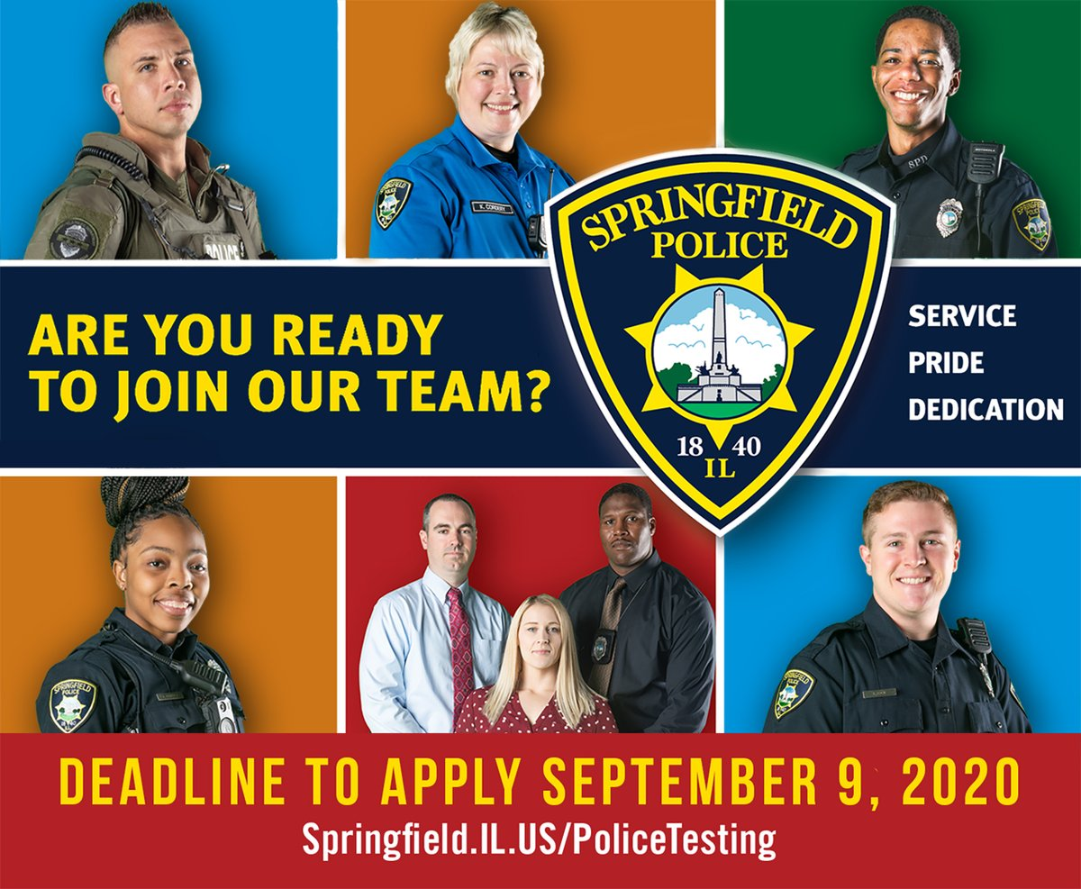 Join our team! 🚓 The Springfield, Illinois Police Department is currently hiring new officers. Salary, benefit and application information is available online at . Deadline to apply is September 9 at 11:00 p.m. (CST).