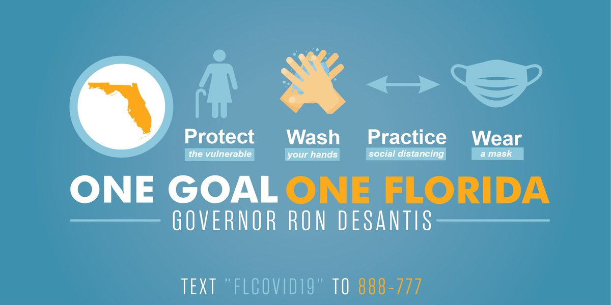 One Goal One Florida is an important effort to protect our state. These easy steps make a difference. ☑️Protect those most vulnerable. ☑️Wash your hands. ☑️Follow social distancing. ☑️Wear a mask