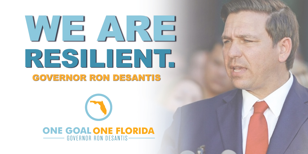 RT @FLCaseyDeSantis: Floridians are resilient and together we will overcome. #OneGoalOneFlorida