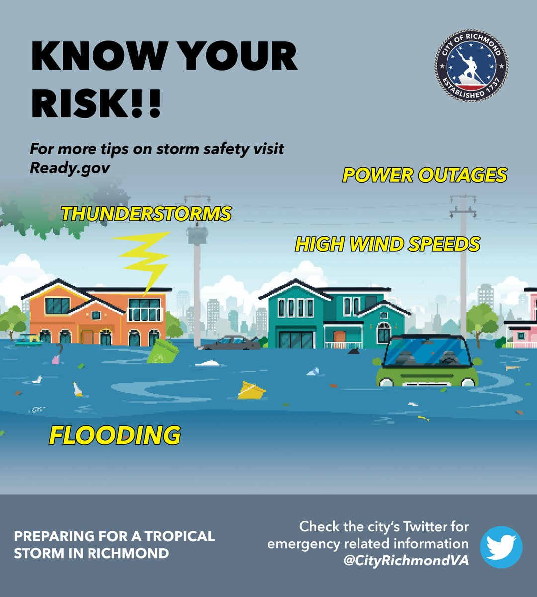 Know your risks. Be prepared.  The City of Richmond has activated its emergency operations center and will be monitoring the tropical storm. For more information, check out this briefing the mayor and emergency personnel provided earlier today:
