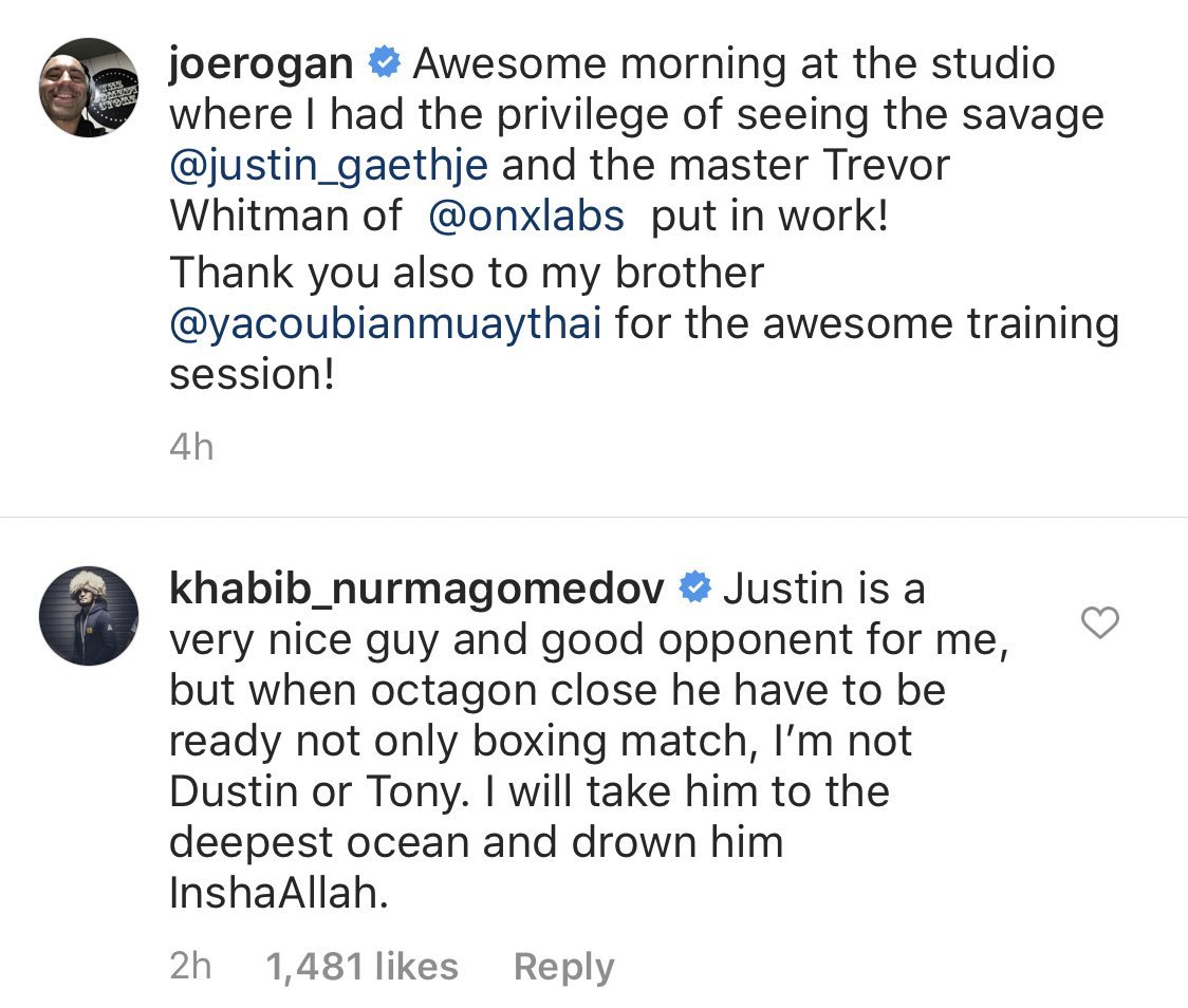 """Khabib saying he plans on taking Justin Gaethje """"to the deepest ocean and drowning him"""" is the scariest shit of all time. @SpinninBackfist"""
