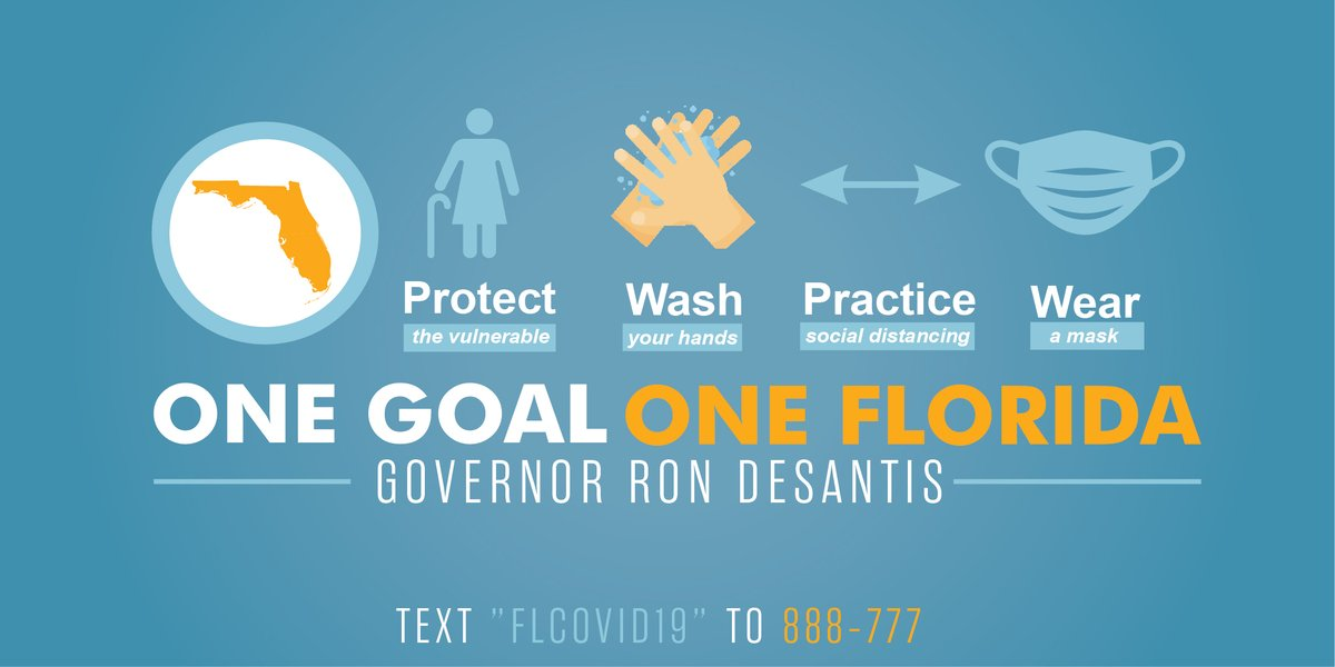 Let's join together and continue following simple, yet effective guidance to protect our most vulnerable and slow the spread of #COVID19.  #OneGoalOneFlorida @GovRonDeSantis  @richardcorcoran