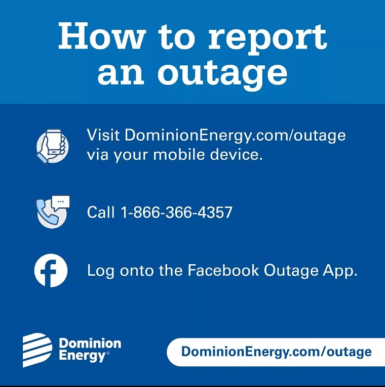 Report power outages to Dominion Energy.   In addition, stay away from all downed wires and report them to Dominion Energy.  #staysafenkc