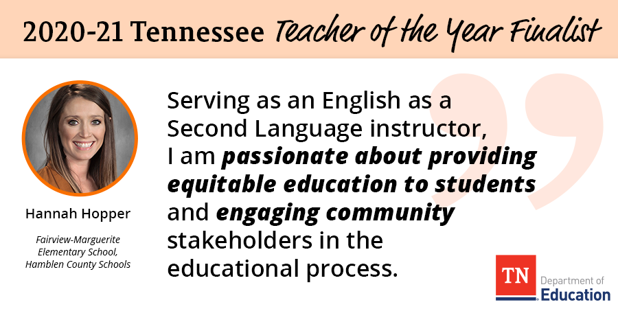 Today we are highlighting Hannah Hopper, a teacher from Fairview-Marguerite Elementary School, who is a 2020-21 Teacher of the Year Finalist. Congratulations, we appreciate everything all you do! @HannahHopperEdD @FMESproud @HC_ESP