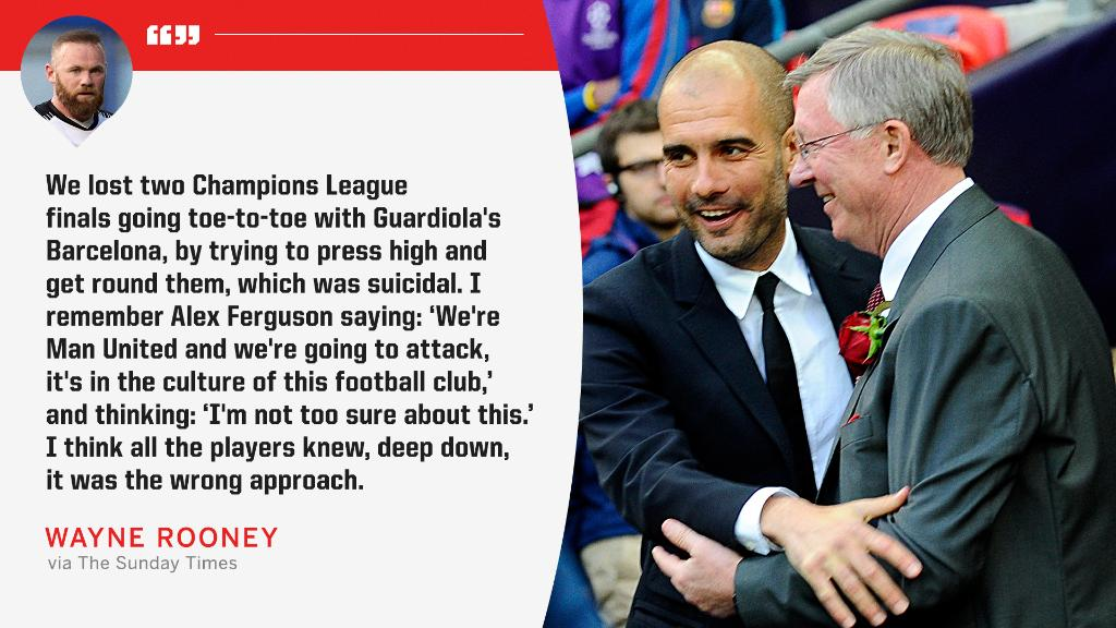 Wayne Rooney spoke about Sir Alex Ferguson's tactics against Barcelona in the 2009 and 2011 UCL finals.