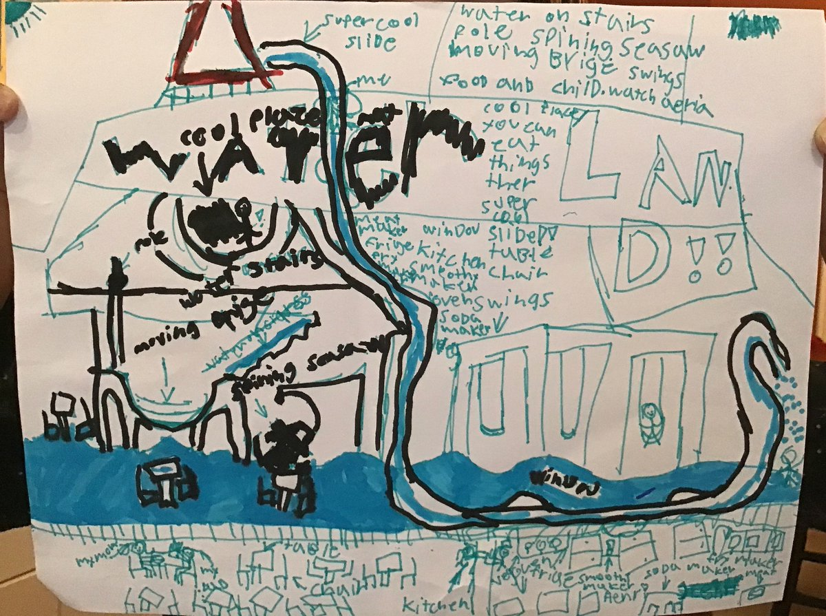 Even when it rains out, fun still happens with #Ready2PlayDC! Let the young park planners stay dry at home and have fun envisioning their favorite park!   Drawing -Henri Risher's Water Land Fun Park – Submitted by parent -@MillerANC1A05