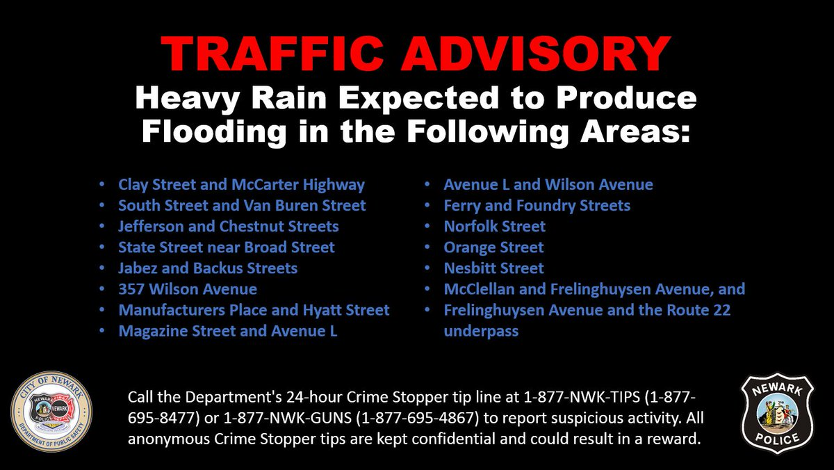 TRAFFIC ADVISORY - Thunderstorms and Heavy Rain Expected Due to Tropical Storm Isaias, expected to begin before noon on Tuesday. High wind gusts of 40-70 mph and 6-inches rain. Drivers advised to avoid following streets which may be flooded:  via @Nextdoor