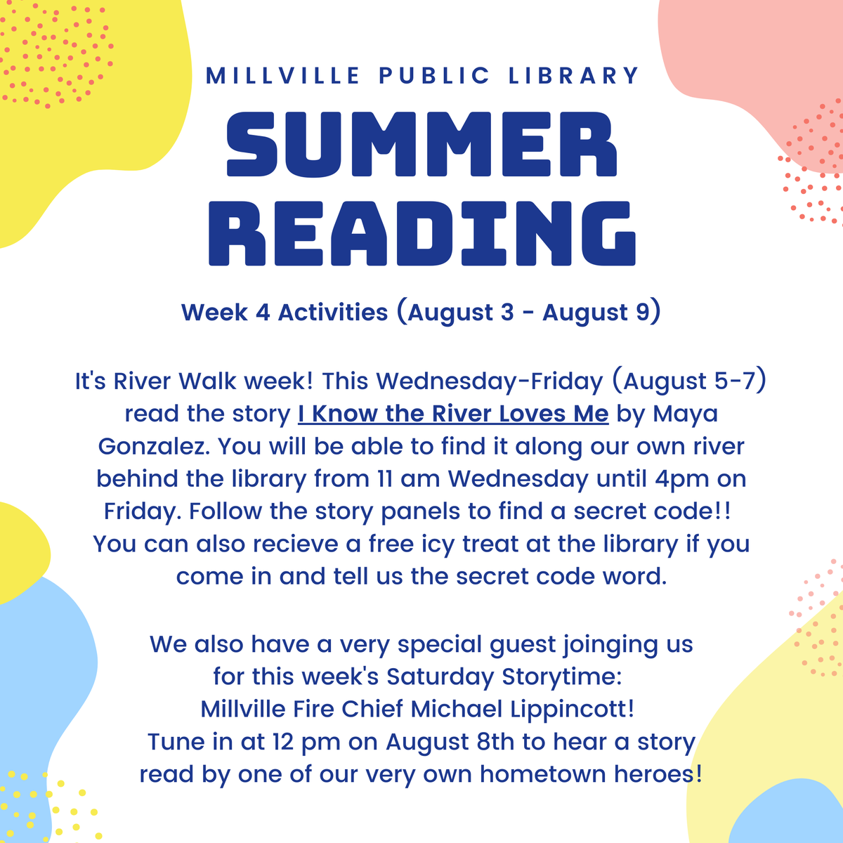 Check out this week's Summer Reading activities! Walk along the River Walk and read