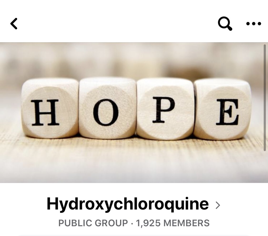 Facebook is now censoring and removing moderator accounts of one of the most popular Hydroxychloroquine groups on Facebook (established March 21).  Facebook is now playing the roles of publisher, doctor and world health authority now.  h/t @BenMorden
