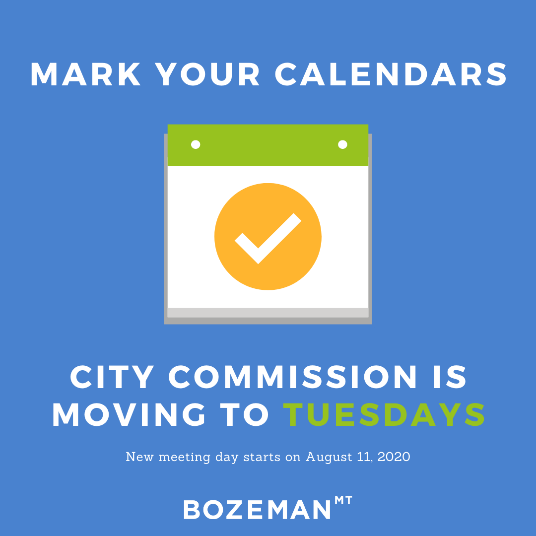 ☝️Join us tonight at 6 PM but don't forget to mark your calendars for the new day next week! City Commission is moving to Tuesdays starting August 11, 2020. Same time, same place, just a new day of the week.