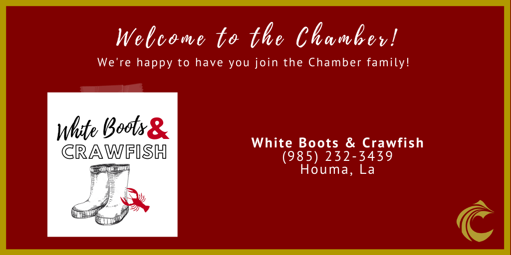 We love our local seafood members! Welcome to the Chamber family, White Boots & Crawfish! Theyare local distributors and  can be contacted at (985) 232-3439. C'est si bon! #newmembermonday