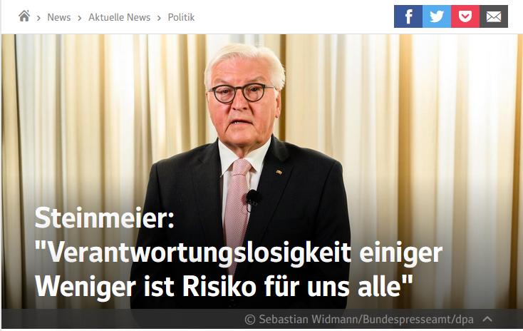 """#Steinmeier: """"Verantwortungslosigkeit einiger Weniger ist Risiko für uns alle."""" Ist das der Gipfel der Verlogenheit? Wer posierte noch gestern im Urlaub ohne Maske und ohne Mindestabstand?"""