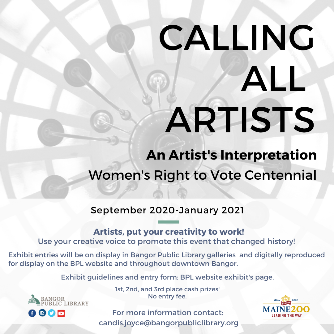 Don't forget to submit your art for our Women's Right to Vote exhibit! Deadline is August 24th.   More info here:    #heybangor #localartists #womensrighttovote #suffrage