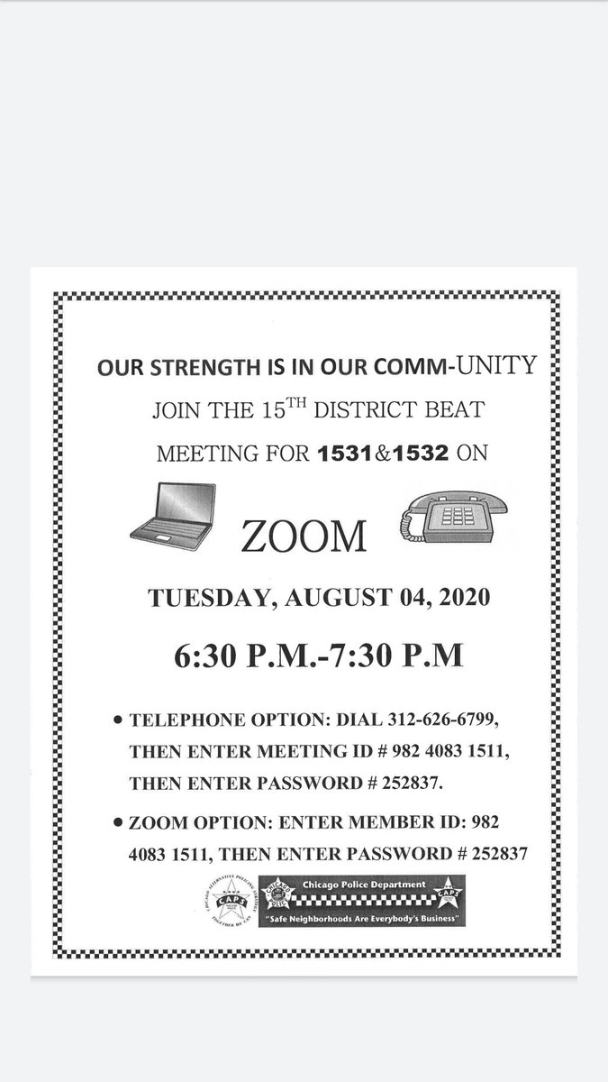 The 2020 Beat Meeting Calender for August is being held on zoom..... More community involvement the better hope to see you on zoom.....
