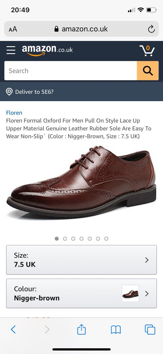 Just buying brown brogues tonight leads to this racist micro aggression. Is it 2020 or 1720? Please ⁦⁦@amazon⁩ take it down.