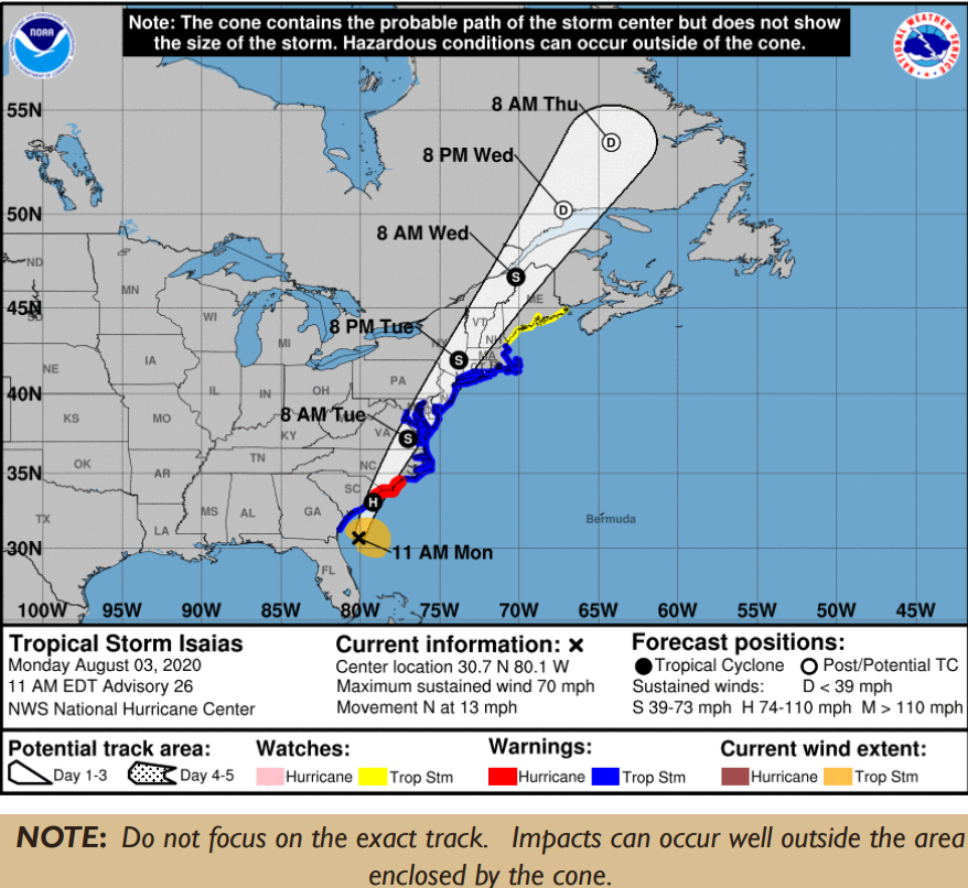 Monitoring of tropical storm Isaias continues. Updated forecast project the storm to affect Baltimore County Tuesday morning into late afternoon. Heavy rains and tropical storm winds are expected. Follow @BaltCoEmergency for updates. #bcofd ^TF