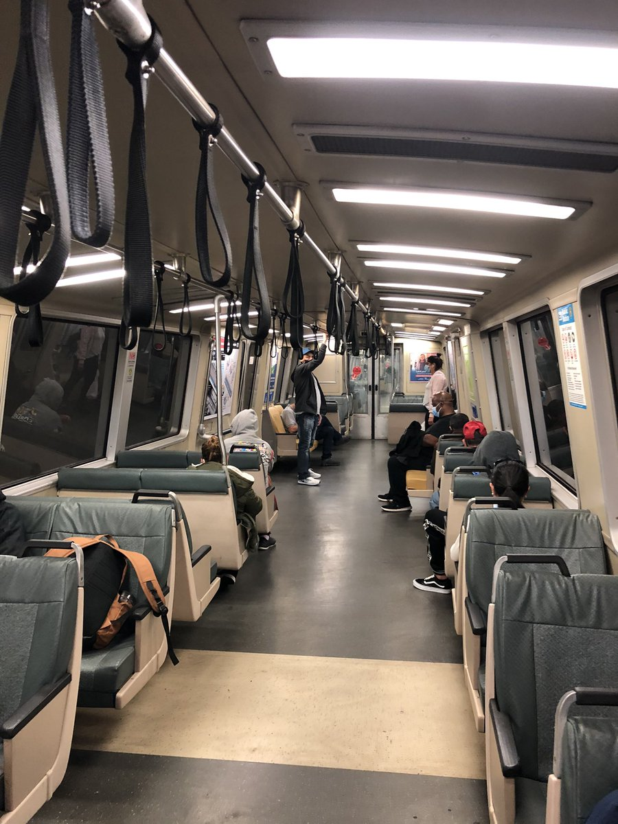 16 riders on this Antioch bound train. Everyone wearing masks.  We brought extras just in case.  Signage on board trains can improve. Some posters have been removed. There was an audio announcement however and signs on the platform.