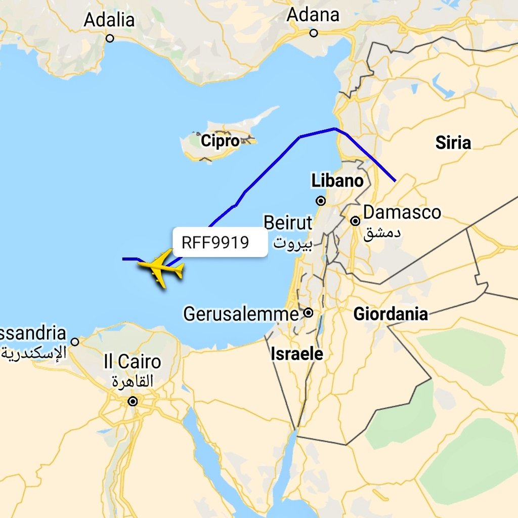 Russian Air Force Antonov An-124 (RA-82014) from #Syria in flight over eastern Mediterranean sea westbound.  Some minutes ago, when the aircraft is entered into Egyptian FIR, the aircraft is disappeared from all tracking sites (ADS-B transponder switched off? )