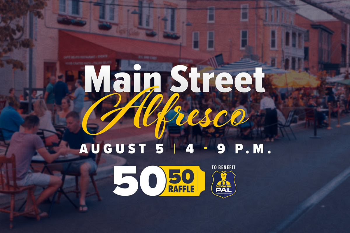 We've organized a 50/50 raffle to benefit Newark PAL at this week's Main Street Alfresco. Please come out and grab a bite to eat and support the work of our great police officers and community members!