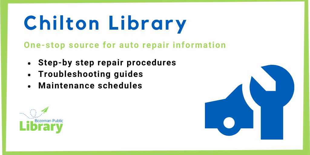 Need a little help fixing your car? Access step-by-step instructions and videos with your library card.