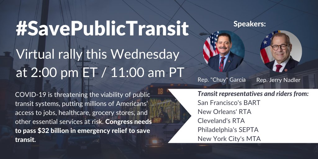 BART's General Manager Bob Powers will join this virtual rally on Wednesday to bring together riders from across the country to urge Congress to #SaveTransit   Aug 5, 11am PST Register at:   Help us show a strong west coast presence.