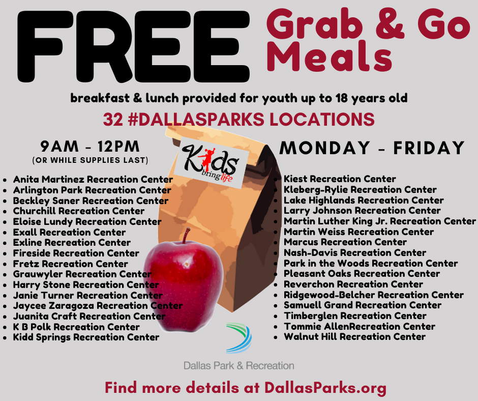 #DallasParks has partnered with Kids Bring Life to provide FREE meals at 32 of our Recreation Centers.