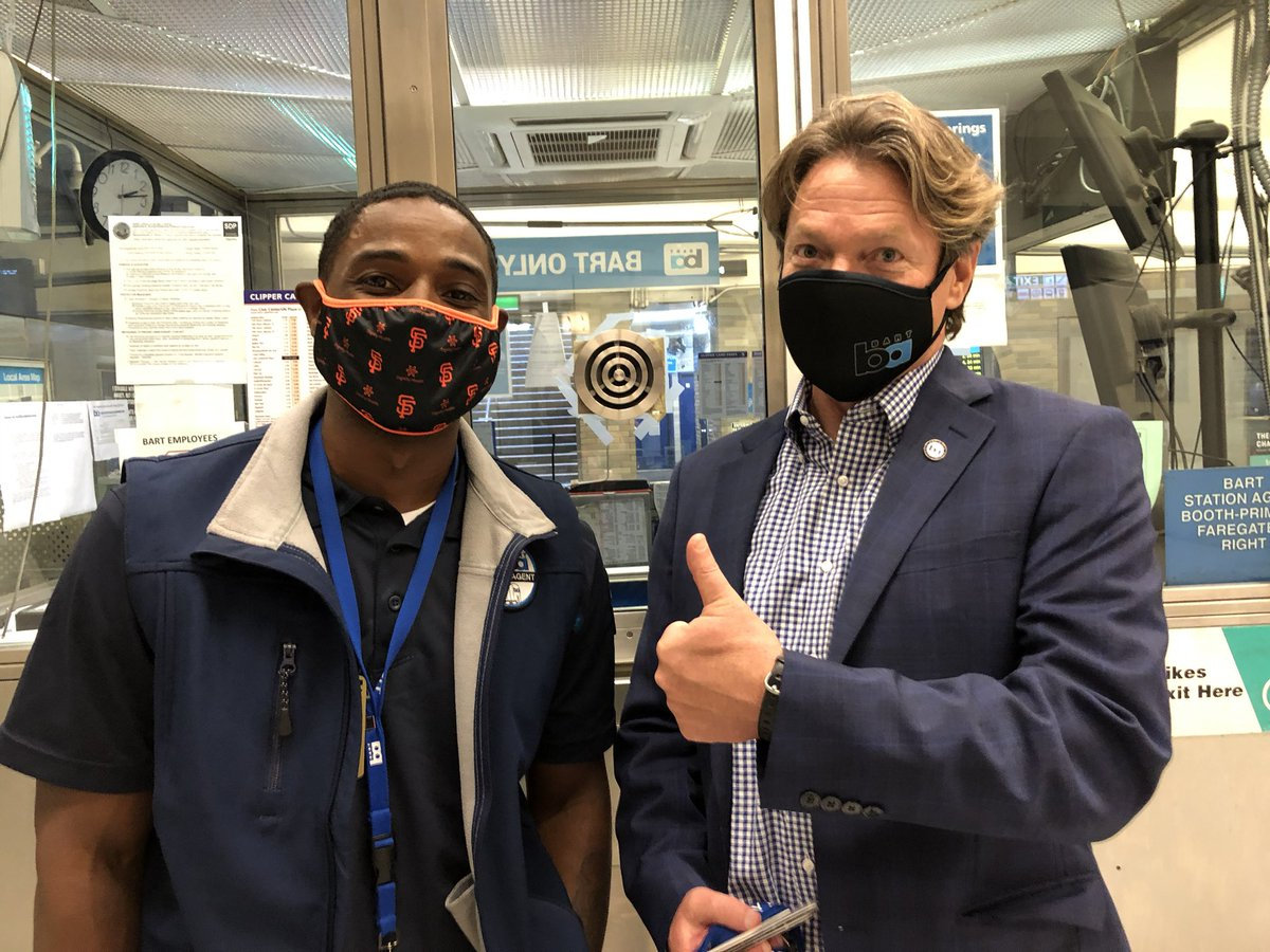 Wrapping up our spot check on the system. In all, we gave out 8 masks to riders who didn't have one.  One agent booth was out of masks so we made a call and got more.   And the @SFGiants donated 1000 masks to give out to riders in SF.  They will be delivered soon.