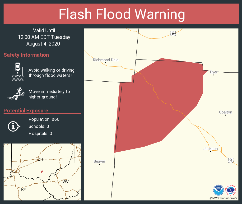 Flash Flood Warning including Jackson, OH until 12:00 AM EDT
