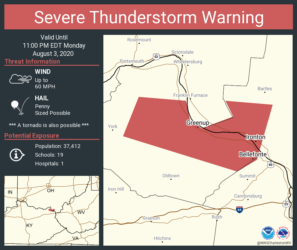 Severe Thunderstorm Warning including Ironton OH, Flatwoods KY, Russell KY until 11:00 PM EDT