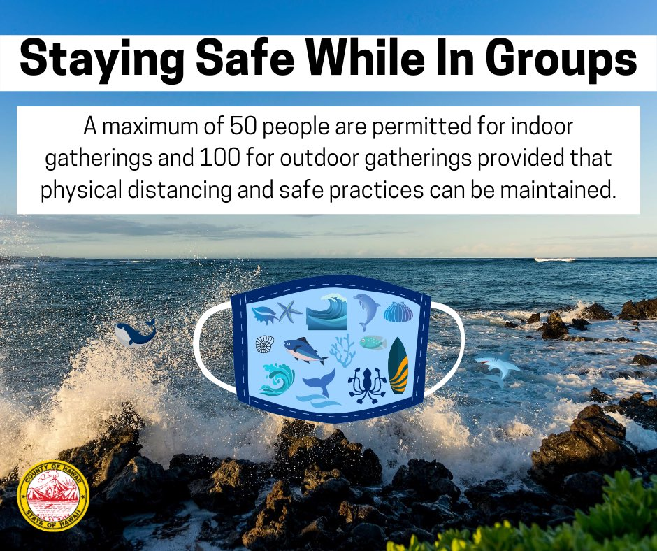 Mayor Harry Kim recently issued Emergency Rule No. 10 clarifying the gathering of groups. Please remember that cloth face coverings over your mouth and nose are mandated when in public. #HawaiiCovid19 #PhysicalDistancing #6FeetApart #StayHealthy #StaySafe