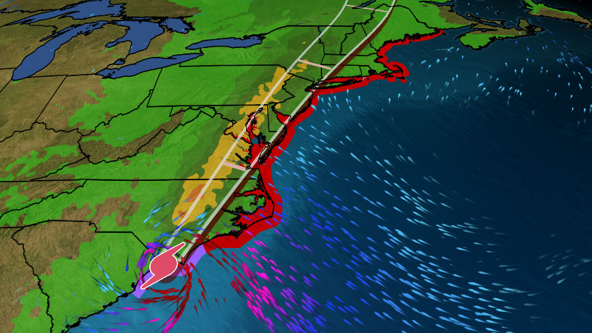 #Isaias is spreading hurricane conditions into parts of the Carolinas and strong winds, heavy rain will sweep into the Northeast into Tuesday night: