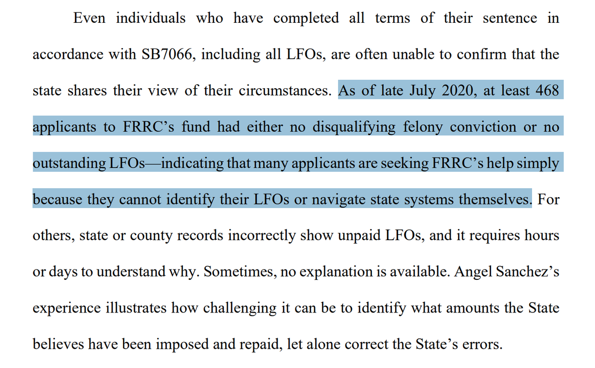 "Honestly don't know what to call this other than suppression.  The Florida Rights Restoration Coalition says it's had almost 500 people w/ felony convictions apply to its fines and fees fund ""simply because they cannot identify their LFOs or navigate state systems themselves."""