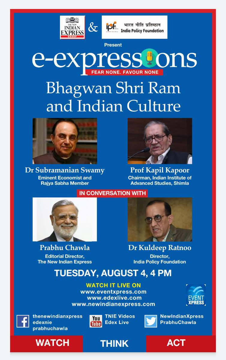 Watch Dr Subramanian @Swamy39 in conversation on the Topic : 🌹🌹🌹 Bhagwan Shri Ram and Indian Culture 🌹🌹🌹 Live Today, Tuesday ( August 4th, 2020 ) At 4 PM. @jagdishshetty @vhsindia  #e_expressions #FearNoneFavourNone  #SubramanianSwamy