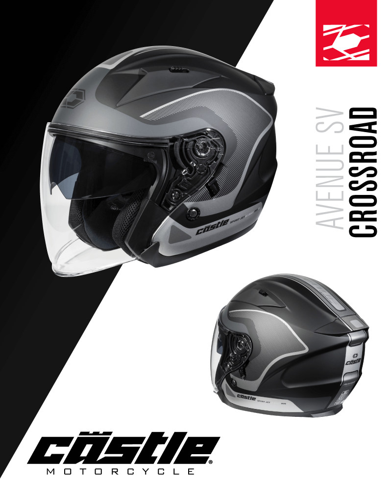 Love an open view? You'll love the #Castle Avenue SV Crossroad open-face helmet! The Avenue features a rider friendly drop-down sun visor system fitted standard with Smoke tint sun visor. DOT & ECE approved. Details @