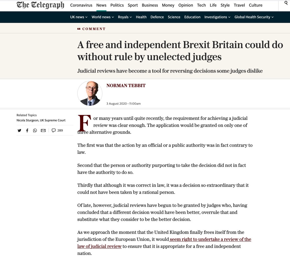 Brexiters:  We need to remove the independence of the judiciary as 1st step after Brexit.