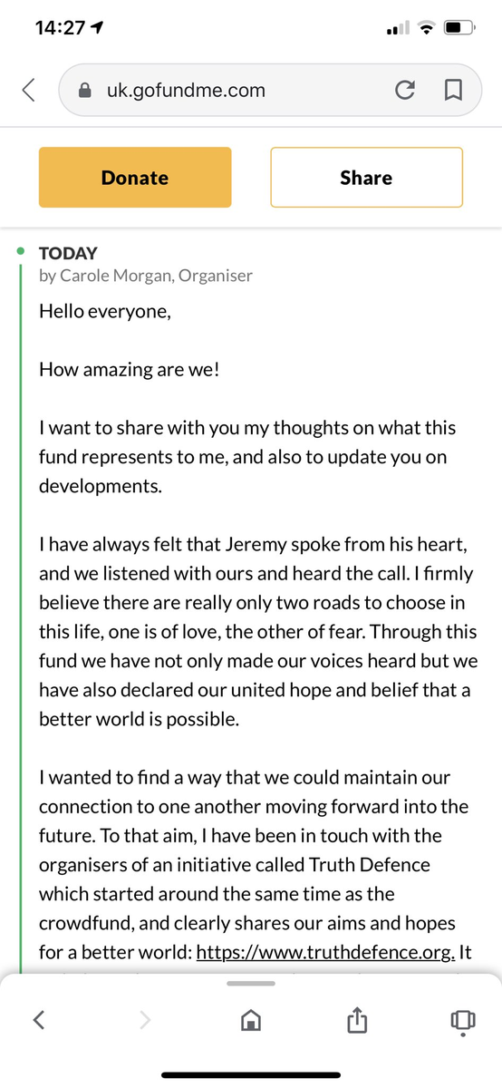 "Update on the 300k+ raised for Corbyn.  The organiser is now working together with a new organisation calling itself ""Truth Defence"". It has 5 Board members, all associated with the ""Jewish Voice for Labour"" group, whose main aim has been to downplay or deny Labour antisemitism"