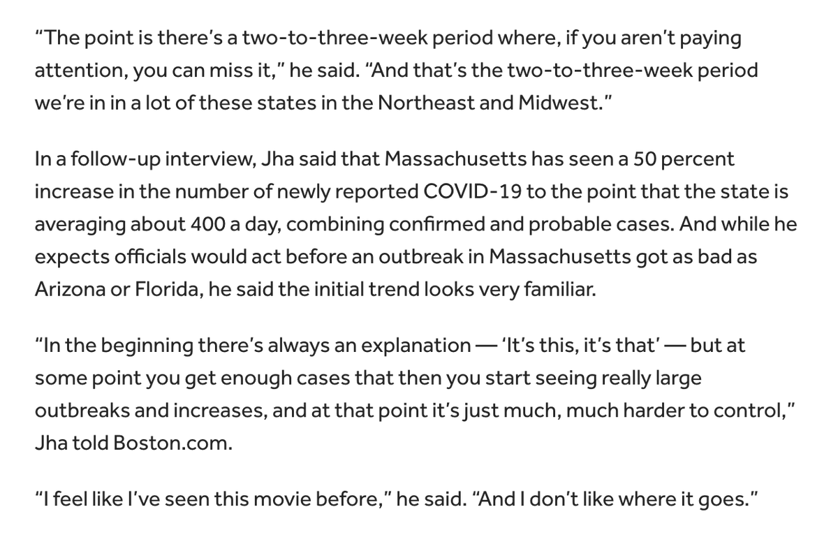 "Talked to @ashishkjha about the concerning COVID-19 uptick in Massachusetts.  ""I feel like I've seen this movie before."""