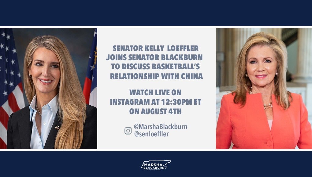 🚨TUNE IN🚨  I'm joining @MarshaBlackburn LIVE on Instagram at 12:30PM ET to discuss China's crackdown on free speech, misguided social justice mandates like the BLM political movement & the important role women play in sports.  Don't miss it. Watch here: