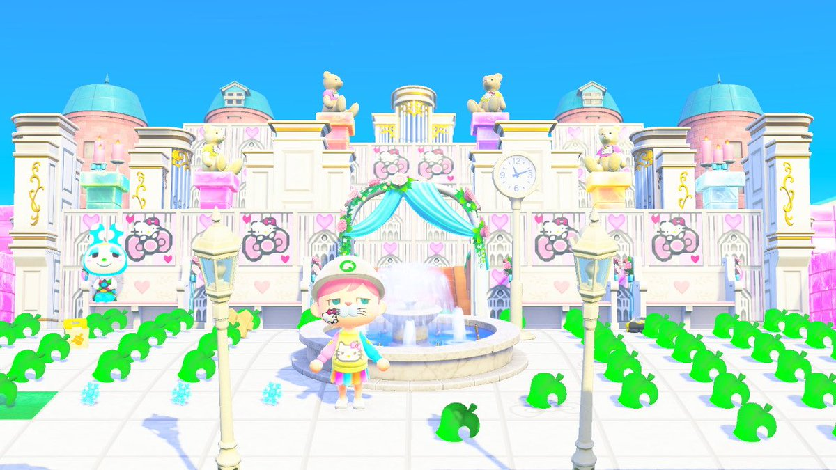 ここから色々手直ししていくけど、とりあえずKitty♡城の完成かな🤣💖  明日は昼頃からカブ開放予定✨ 600超え見つけられますように🤣  カブ価高騰頑張るね💰 配信までに広場の物片付けれるかな😂  #あつ森 #ACNH#どうぶつの森 #ゆゆちゃんねる #マイデザイン #キティ #ACNHDesign #お城 #castle