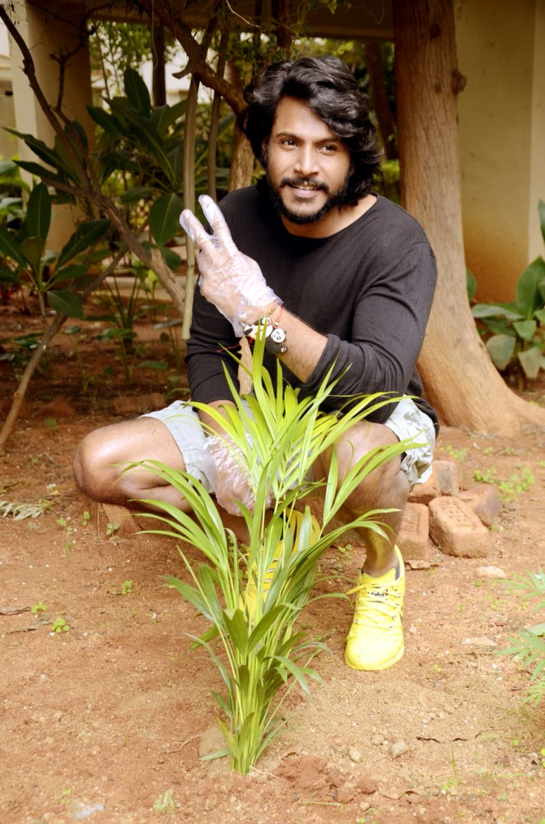 Talented hero @sundeepkishan participated in #GreenindiaChallenge 🌱 by planting saplings at his home as nominated by @LakshmiManchu & #JeevanReddy.  Requested his fans and followers to continue the chain by planting trees. Also Thanked @MPsantoshtrs for this great initiative.
