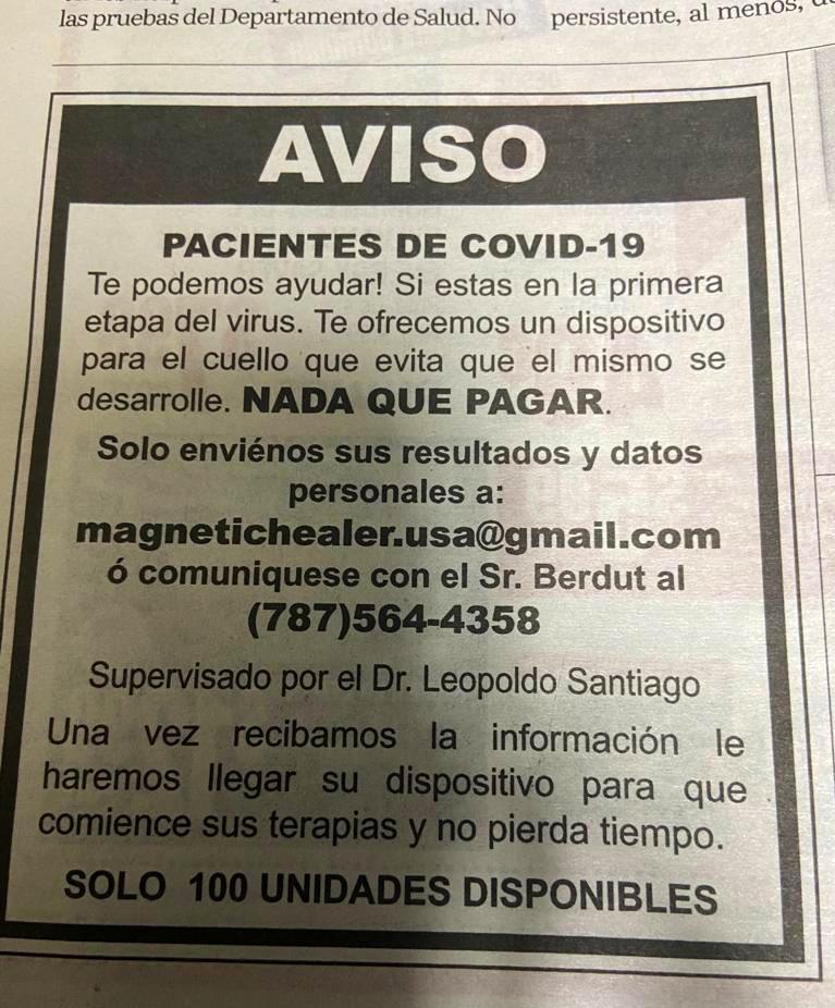 Varias personas me han enviado este anuncio. Hasta el momento, No hay ningún tratamiento aprobado para curar o prevenir #COVID. Cuidado con este tipo de anuncios.