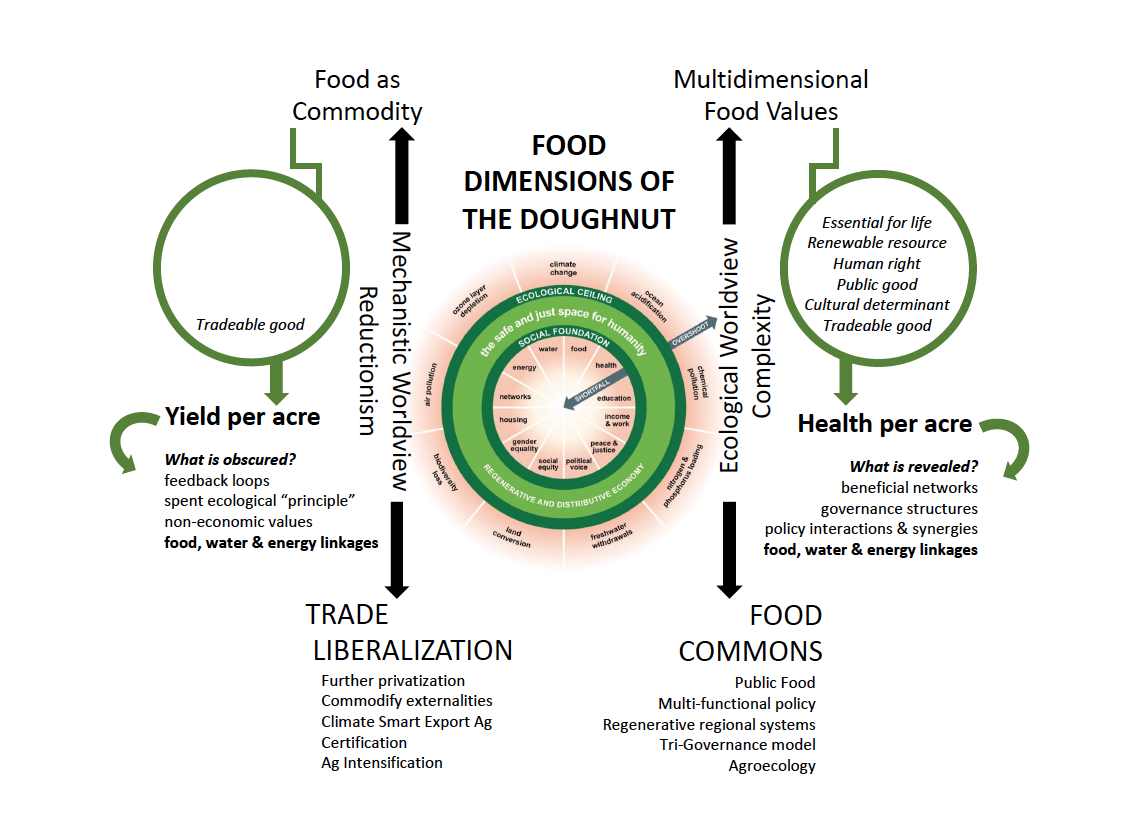 """RT @JodiKoberinski: a visualization that illustrates the divergent outcomes of a """"Food Science"""" vs """"Food Systems"""" approach to food systems sustainability in context of ViveroPol's Food Dimensions Framework and @KateRaworth Doughnut . Feedback welcome!"""