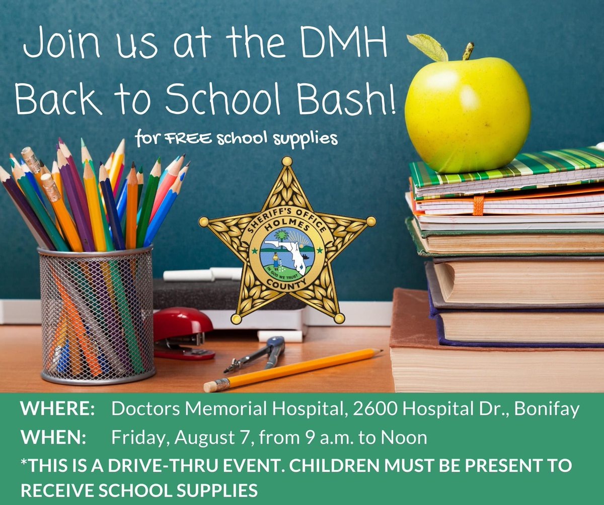 Be sure to join us from 9 a.m. to Noon this Friday, August 7, at Doctors Memorial Hospital for their drive-thru Back to School Bash.   We will be among several others vendors offering FREE school supplies. See you there!