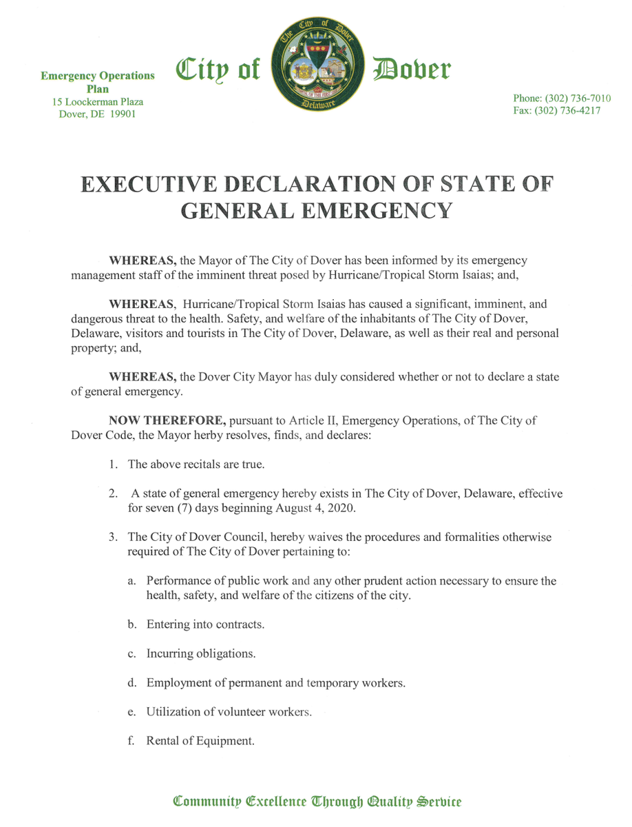 A copy of the State of Emergency issued by Mayor Robin Christiansen and the City of Dover.