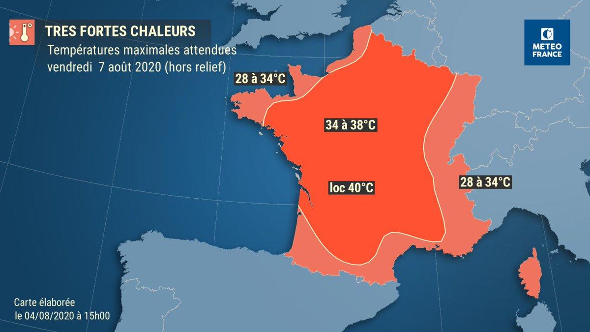 🌡️#Forteschaleurs   ▶️ A partir de jeudi après-midi, un épisode de fortes chaleurs se met en place sur la France, débutant sur la basse vallée du Rhône, le Sud-Ouest, les Pays de Loire et la région parisienne, avec des T°C max. comprises entre entre 34 et 37 degrés.  [1/3]