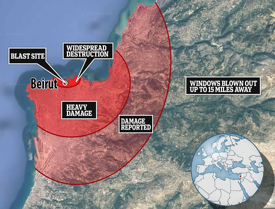 An in depth look at where the explosive went off and how far the damage reached  #Beirut