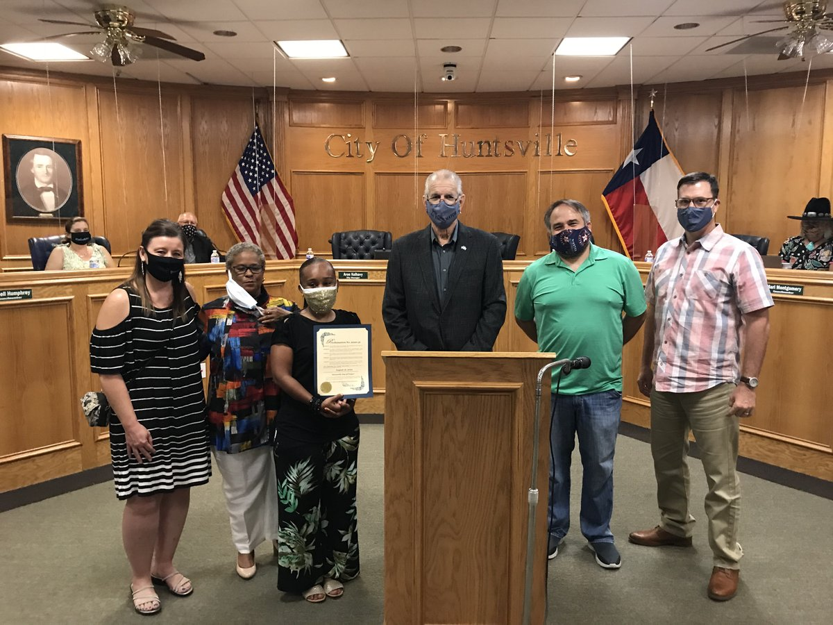 Mayor Andy Brauninger presented a proclamation to CommUNITY ALLiance for Huntsville to support August 16th as a day of prayer at 6 pm at local HISD campuses.