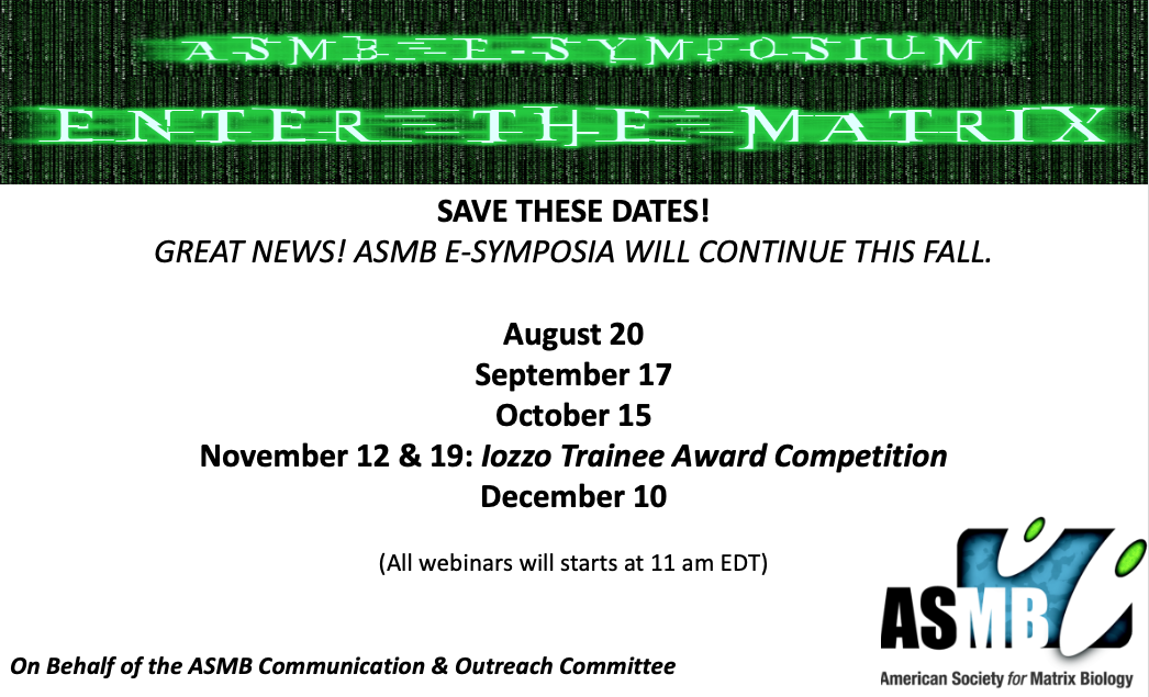 📢#SaveTheDate for our fall #ASMBeSymposia Series 😎 Plus don't forget to submit your #Abstracts via   #ECMatrix #ExcitingScience #MarkYourCalendar #ECMatrixIsEverywhere! #SpreadTheWord  More details will follow soon!